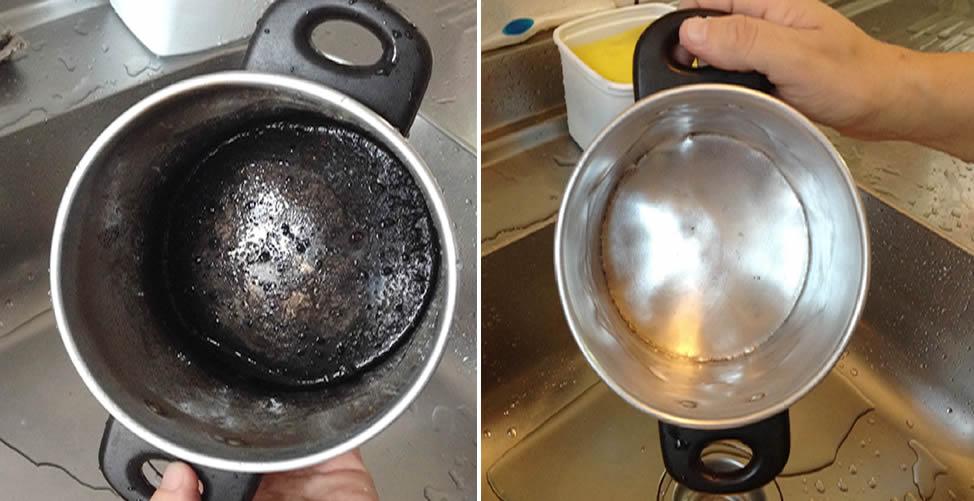 So reinigen Sie den verbrannten Topf